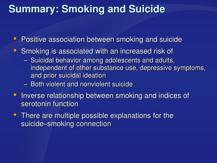 Summary: Smoking and Suicide