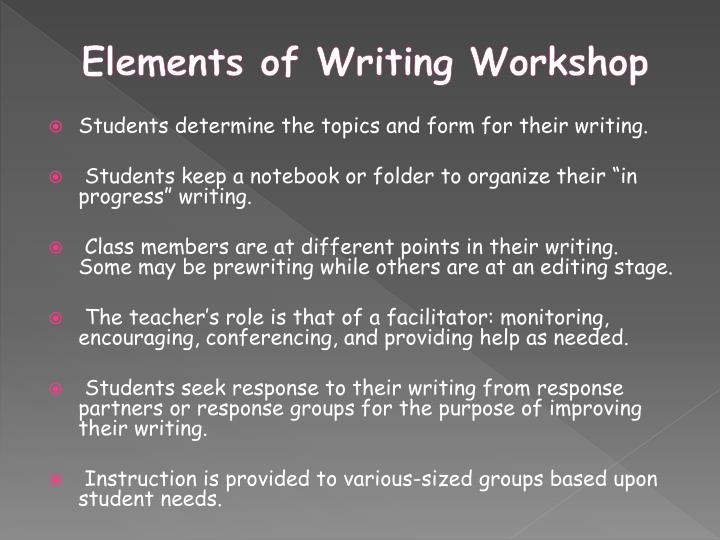 elements of writing Elements of writing the follow-up session to this one attempts to show parents how to correct work for the specific elements we outline in this writing i.