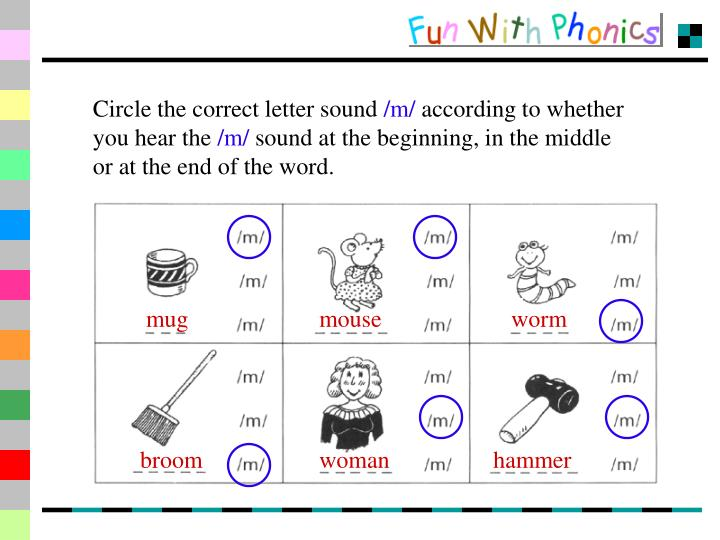 Circle the correct letter sound