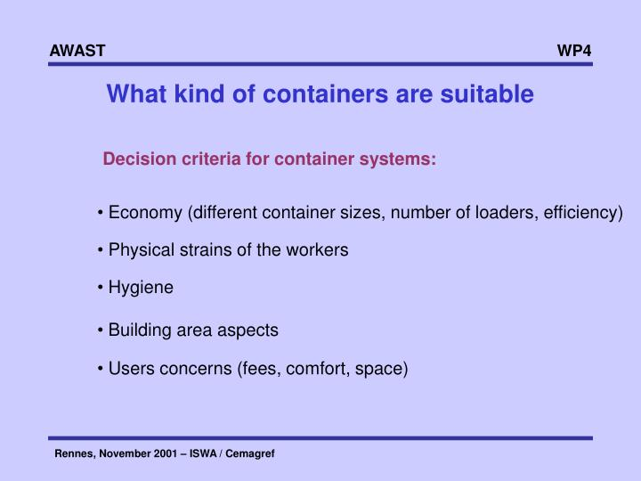 What kind of containers are suitable