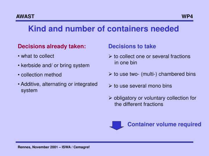 Kind and number of containers needed