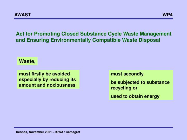 Act for Promoting Closed Substance Cycle Waste Management and Ensuring Environmentally Compatible Waste Disposal