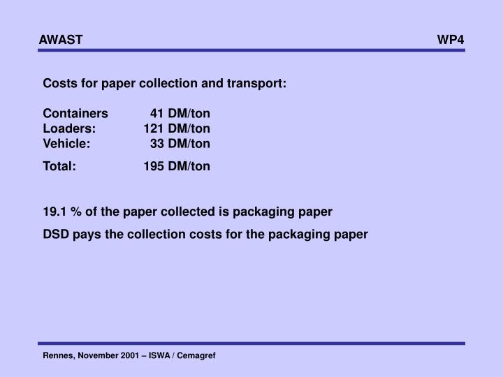 Costs for paper collection and transport: