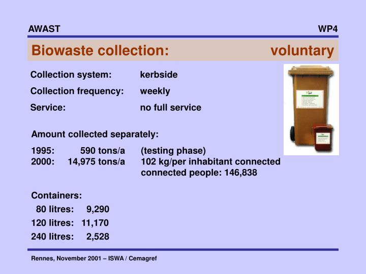 Biowaste collection:       voluntary