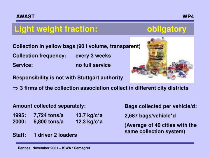 Light weight fraction:   obligatory
