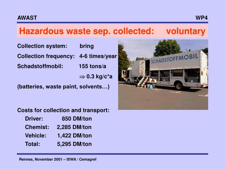 Hazardous waste sep. collected:     voluntary