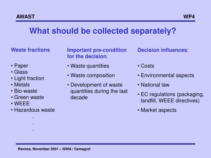 What should be collected separately?