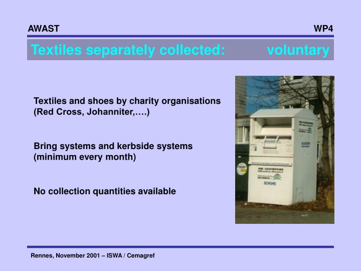 Textiles separately collected:     voluntary