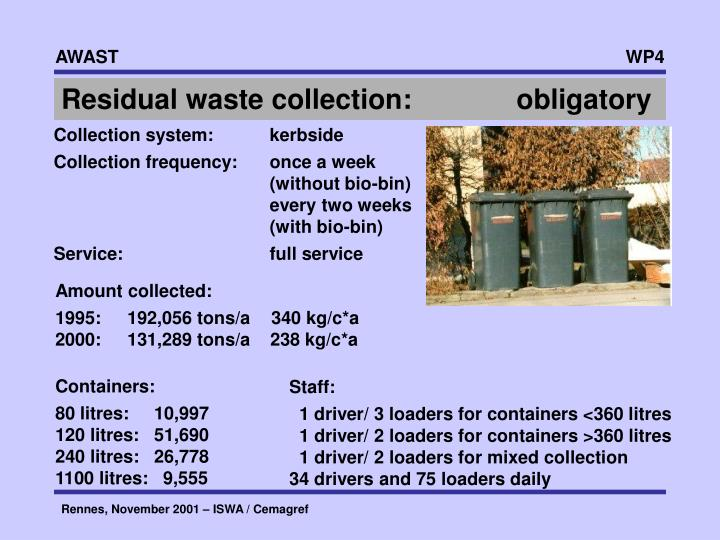 Residual waste collection:     obligatory