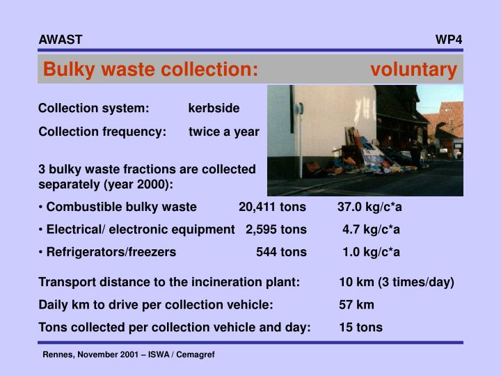 Bulky waste collection:       voluntary