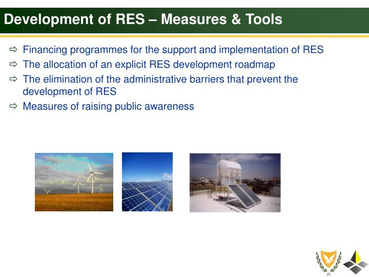 Development of RES – Measures & Tools