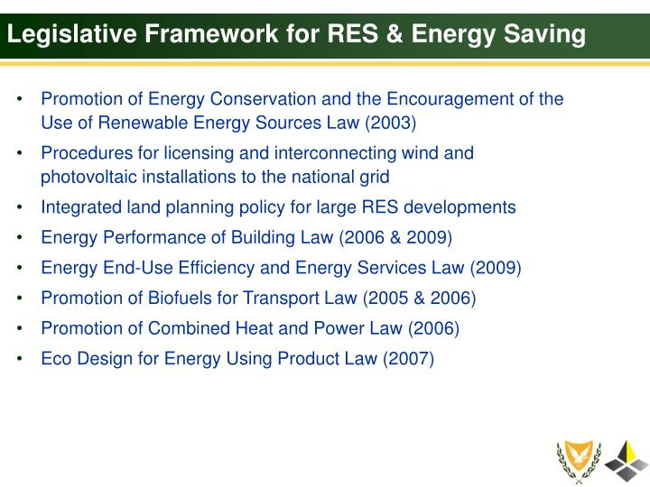 Legislative Framework for RES & Energy Saving