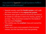 how did the spanish social systems reflect the spanish worldview
