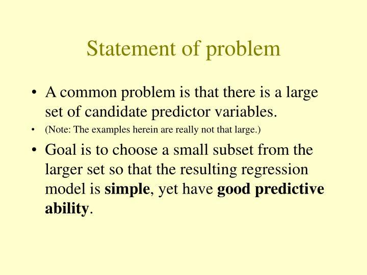 Statement of problem