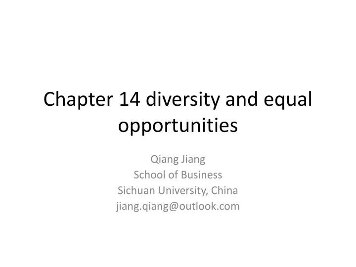 chapter 14 diversity and equal opportunities n.