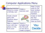 computer applications menu