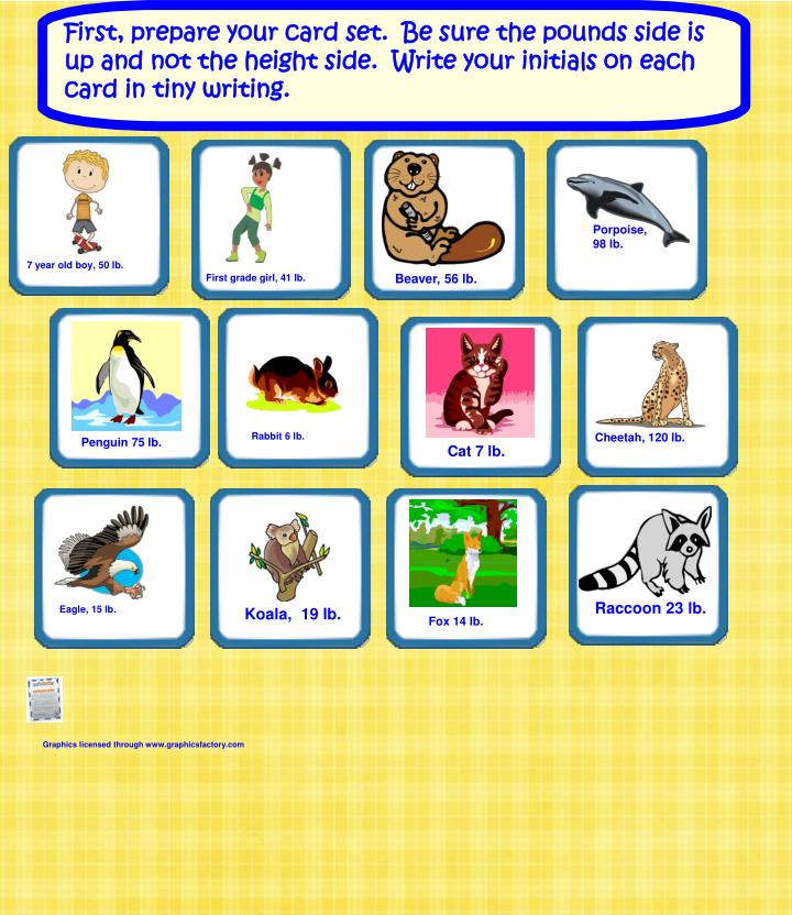 Ppt Animal Weights Cards Grade One Everyday Math Unit 5 Powerpoint