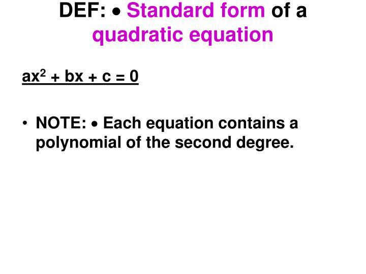 Ppt 35 Quadratic Equations Powerpoint Presentation Id6005428