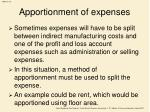 apportionment of expenses