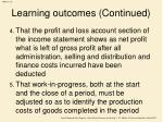 learning outcomes continued