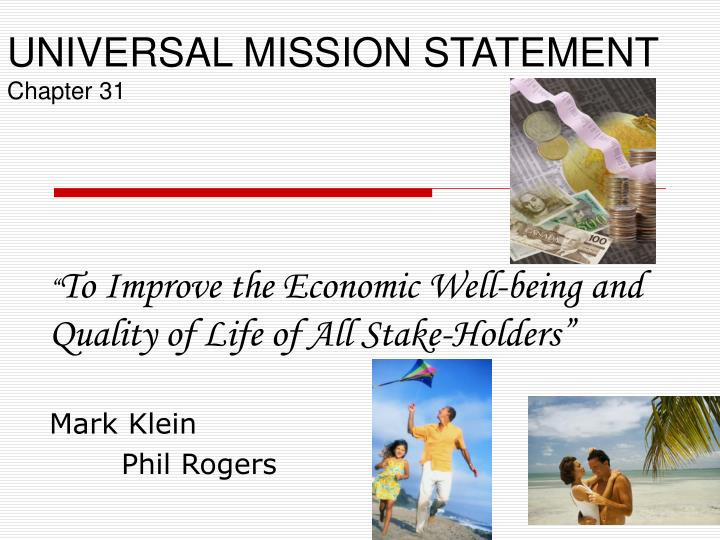 universal mission statement chapter 31 n.