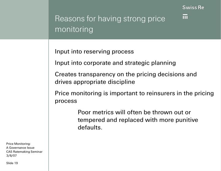 Reasons for having strong price monitoring