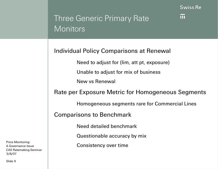 Three Generic Primary Rate Monitors