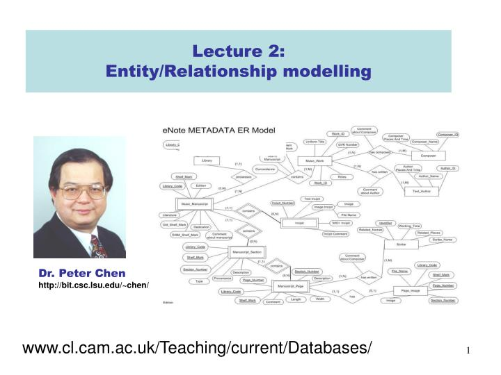 Lecture 2 entity relationship modelling