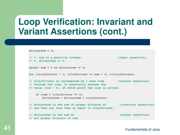 Loop Verification: Invariant and Variant Assertions (cont.)