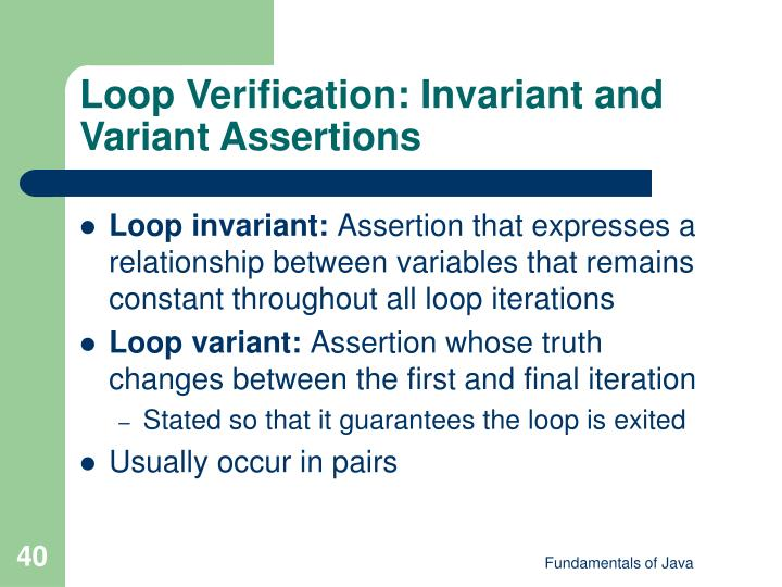 Loop Verification: Invariant and Variant Assertions
