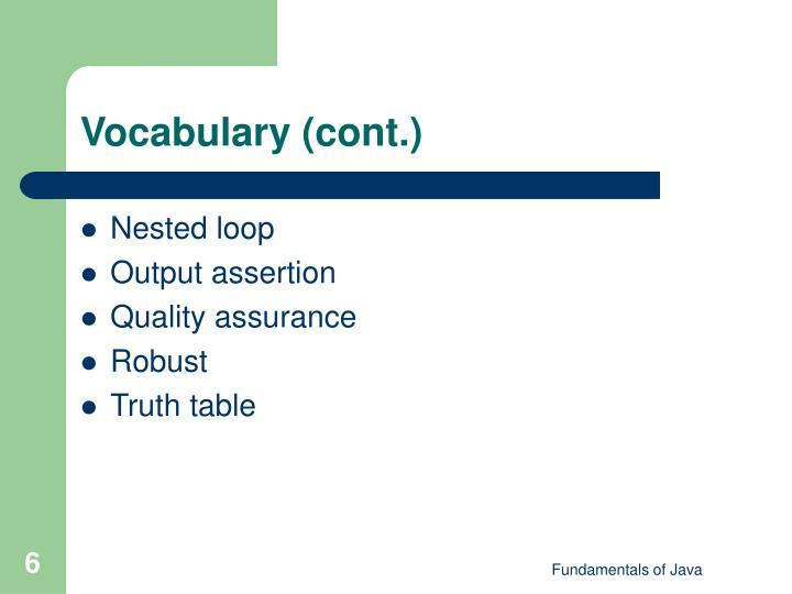 Vocabulary (cont.)
