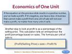 economics of one unit1