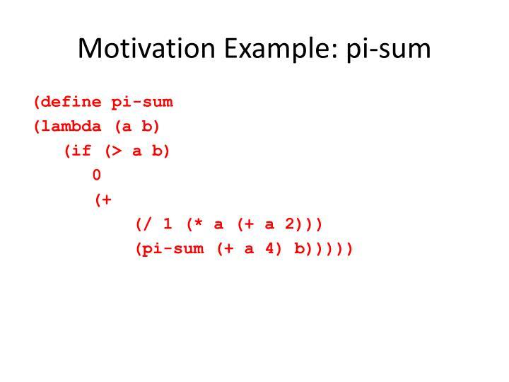 Motivation Example: pi-sum