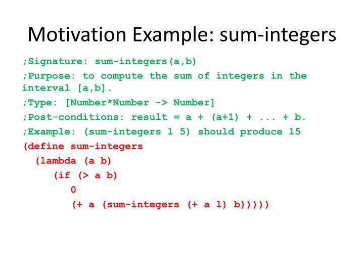 Motivation Example: sum-integers