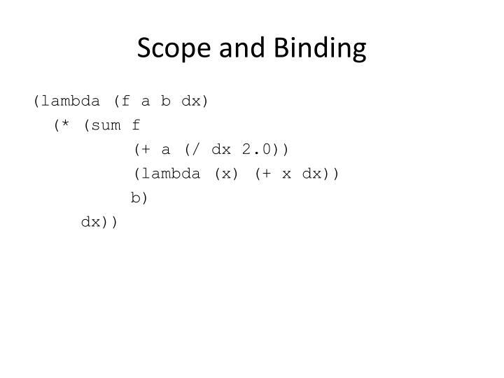 Scope and Binding