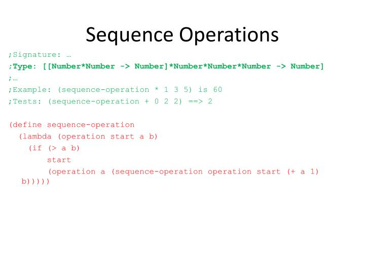 Sequence Operations