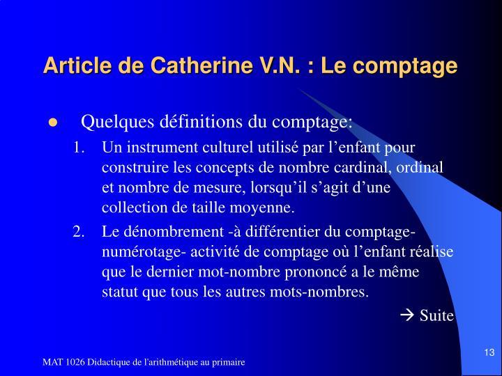 Article de Catherine V.N. : Le comptage
