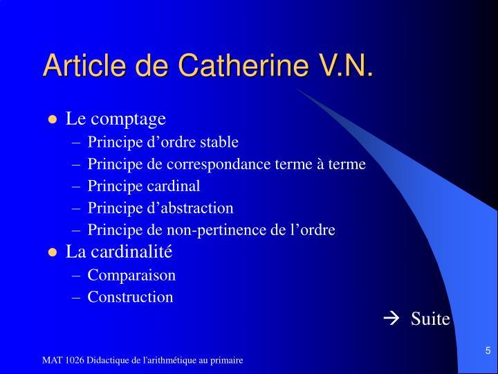 Article de Catherine V.N.