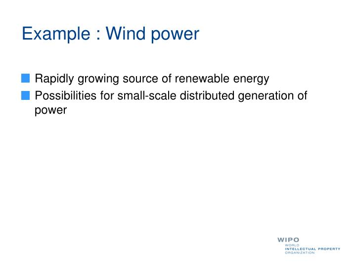 Example : Wind power