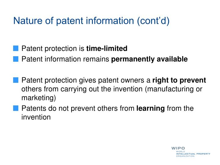 Nature of patent information (cont'd)
