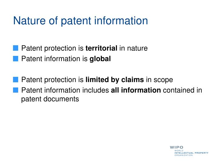 Nature of patent information