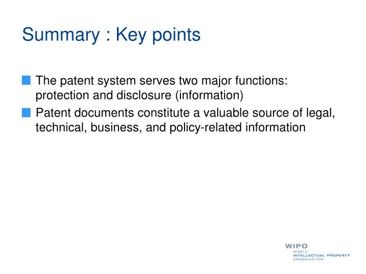 Summary : Key points