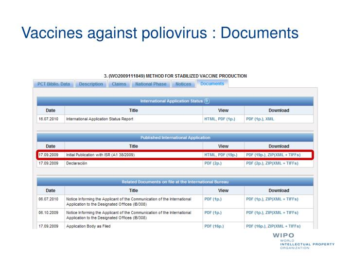 Vaccines against poliovirus : Documents