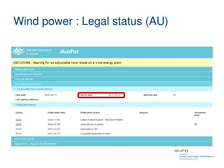 Wind power : Legal status (AU)