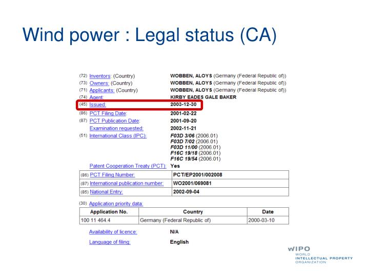 Wind power : Legal status (CA)