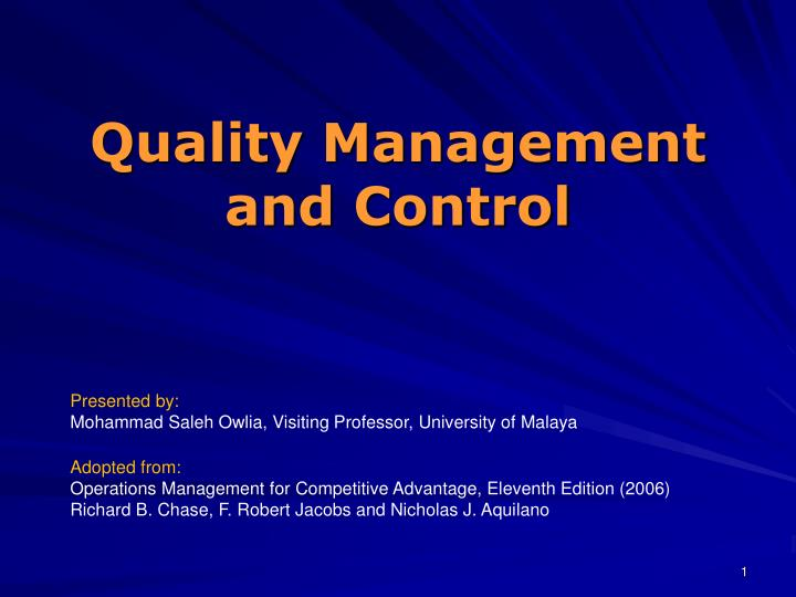 quality management and control n.