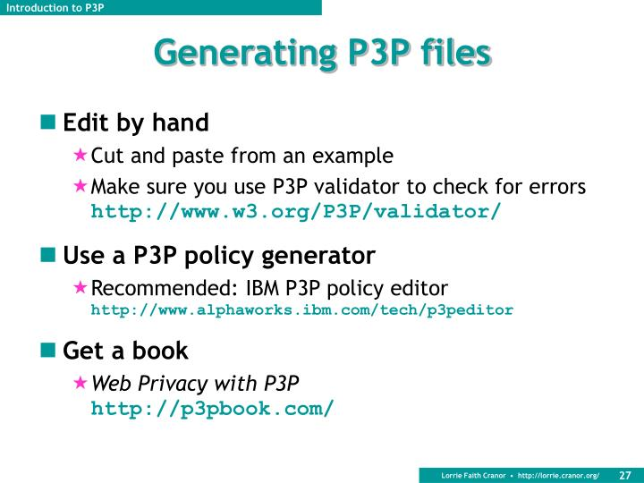 Generating P3P files