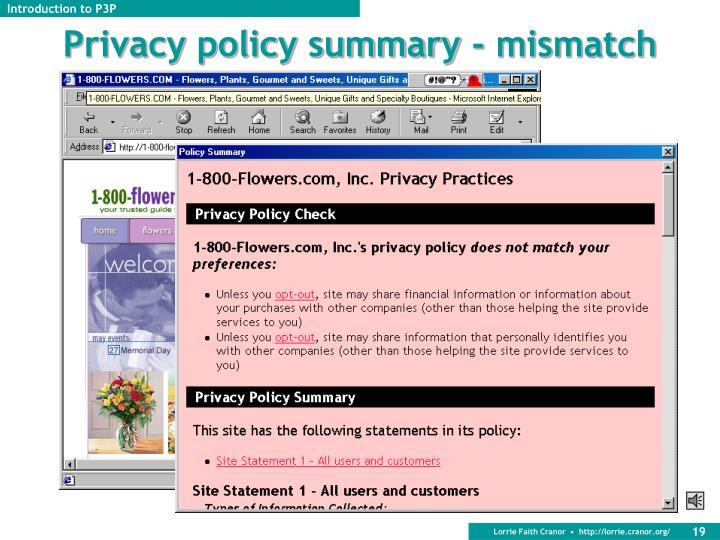Privacy policy summary - mismatch