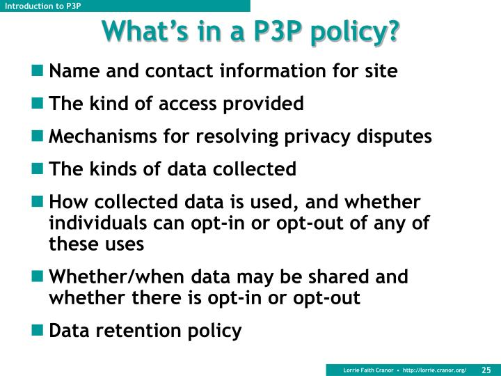 What's in a P3P policy?