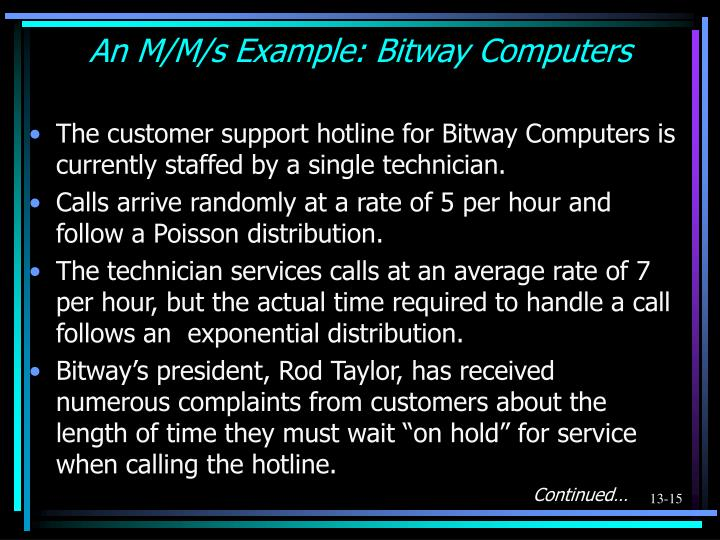 An M/M/s Example: Bitway Computers